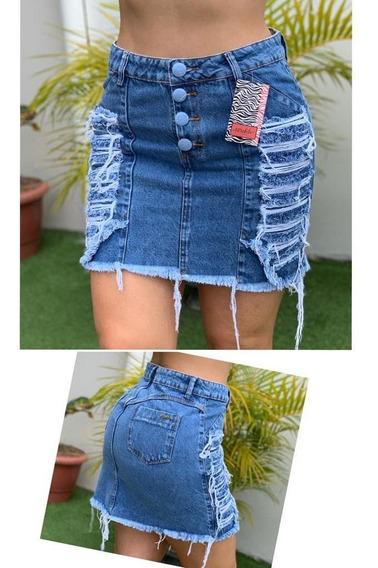Saia Jeans Feminina Com Botões E Puido