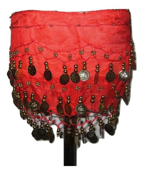 Caderín Nena Danza Árabe Gasa Crochet 3 Filas Monedas