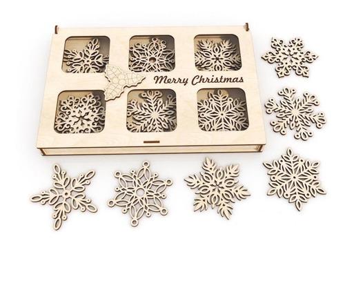 Imagen 1 de 5 de Kit 60 Copos De Nieve Navideña Adorno De Árbol 10cm