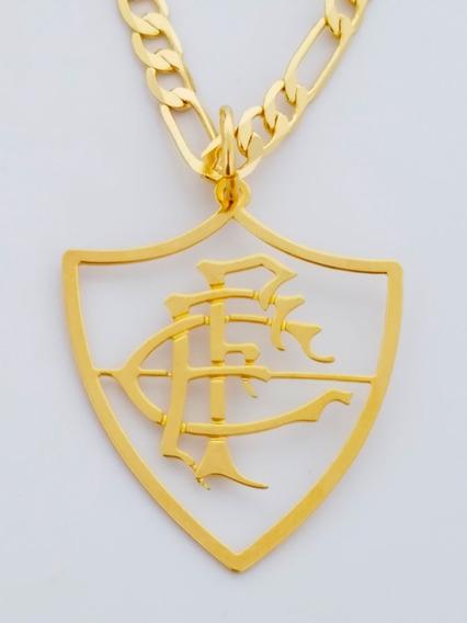 Cordão Pingente Fluminense 60 Cm Banhado Ouro C60p746