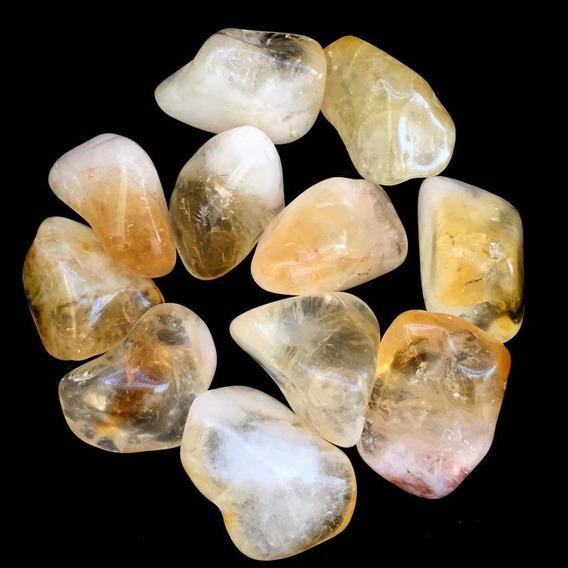 Kit Pedras De Citrino Cristal Prosperidade Energia Amarelo
