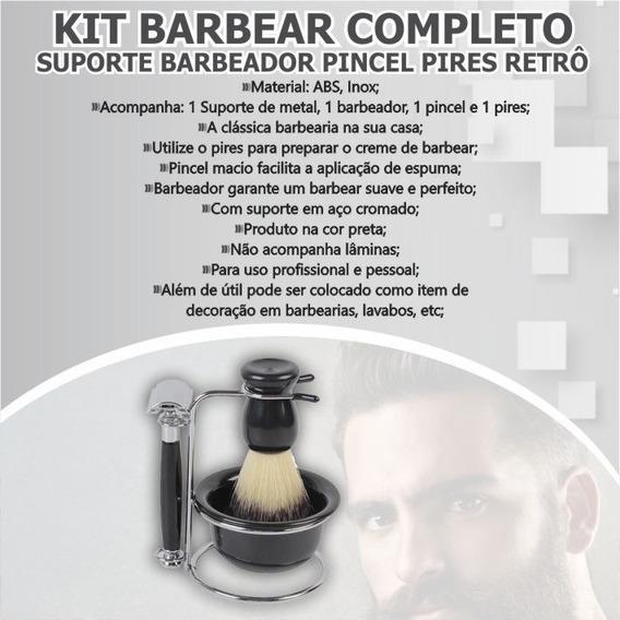 Kit Barbear Completo Barbeador Pincel Retro Suave Macio