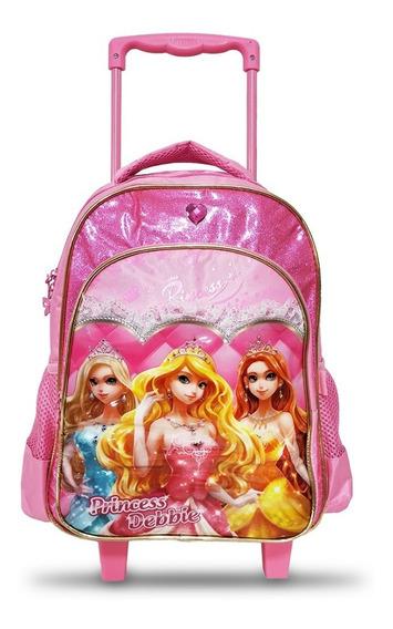 Mochila Bolsa Carrinho Infantil Escola Princesas 4035 Linda