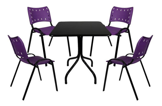 Jogo Mesa 70x70 4 Cadeiras Restaurante Sorveteria Sem Juros