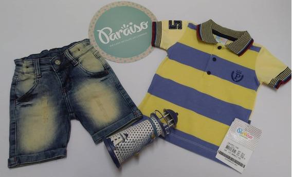 Conjunto Paraiso Bebe Menino Bermuda Jeans + Camisa Ref 7498