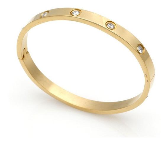 Bracelete Pulseira Feminina Banhada A Ouro 18k Com Garantia