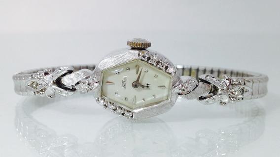 Reloj Hamilton De Oro Sólido Blanco De 14k P/dama (ref. 622)