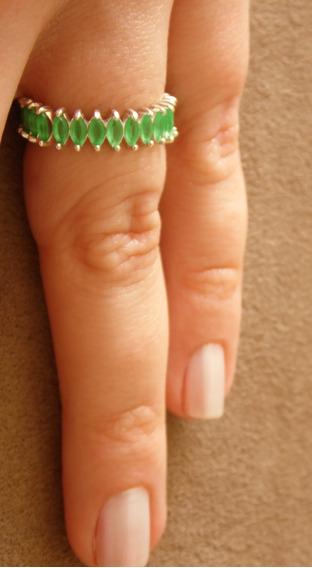 Anel Cacto - Prata Com Zircônias Verdes