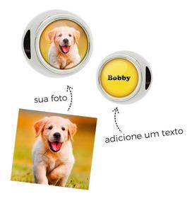 Berloque Personalizado Com Foto E Texto Redondo Passante