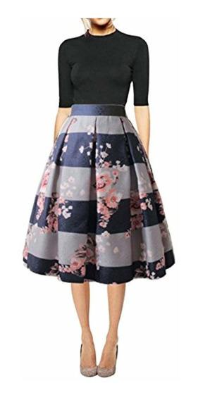 Hanlolo Faldas Florales Vintage Falda Plisada