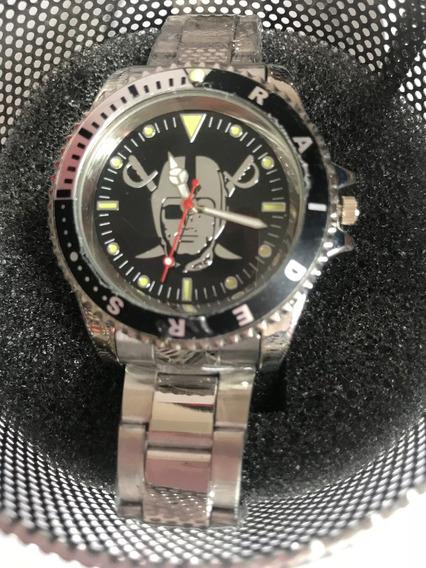 Reloj Nfl Raiders Analogo Extensible Acero Inox