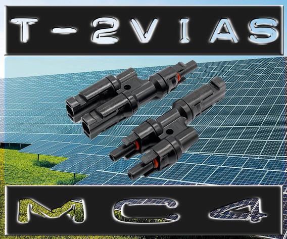 Kit 10 Par Adaptador Mc4 T Duplo 2 Vias Conector Solar