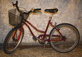 Bicicleta Playera Robinson Bordó C/ Canasto Rod 24 Mujer