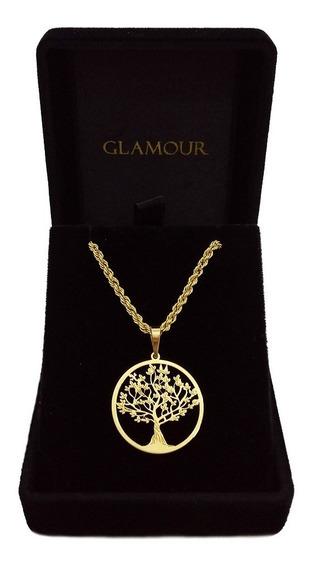 Corrente Cordão Em Ouro 18k Com Pingente Árvore Da Vida