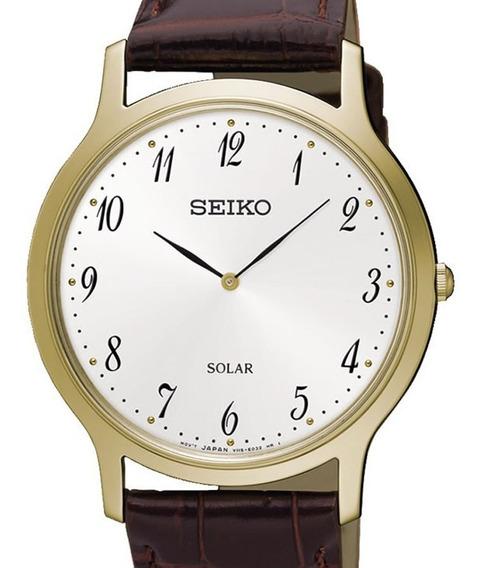 Reloj Hombre Seiko Sup860p1 Linea Solar Acero Con Piel