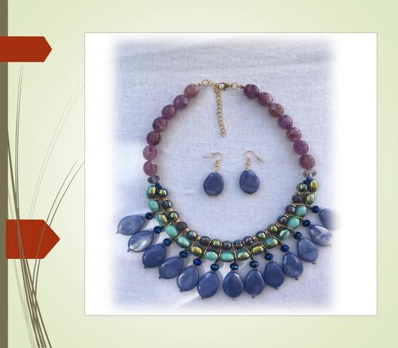 Set De Collar Y Aretes En Tonos Azul Sophia & Kate Oferta!!
