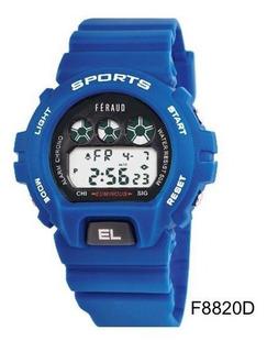 Reloj Hombre Feraud Deporte Azul Digital 50m Alarma F8820d