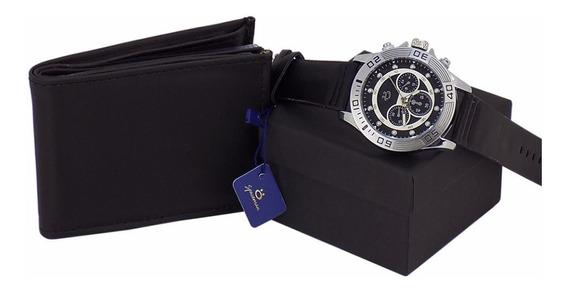 Relógio Masculino Original + Caixa + Carteira Couro