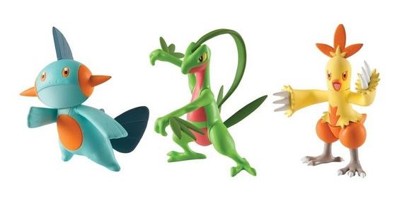 Pokemon - Pack 3 Bonecos - Grovyle, Combusken E Marshtomp