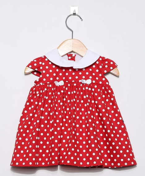 Vestido Bebê Menina Poa Vermelho E Branco