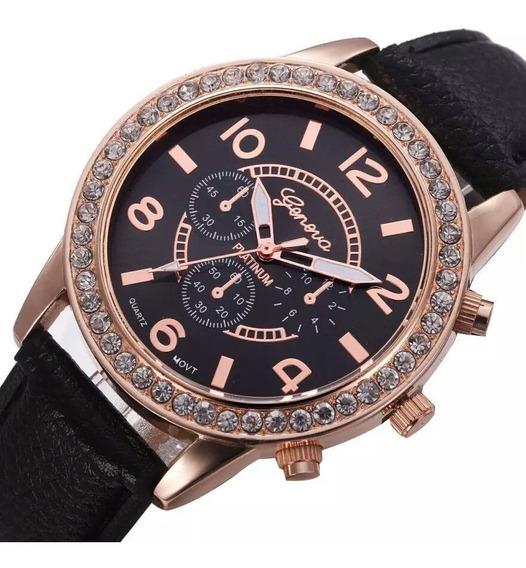 Relógio Feminino Quartzo Luxo Casual De Couro