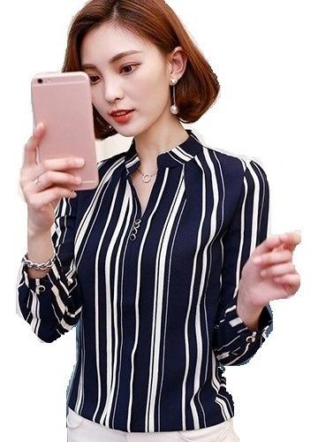Camisete Camisa Blusa Feminina Listrada Social Manga Longa