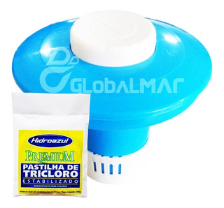 Kit De 10 Pastilhas Hidroazul Tricloro + Mini Flutuador