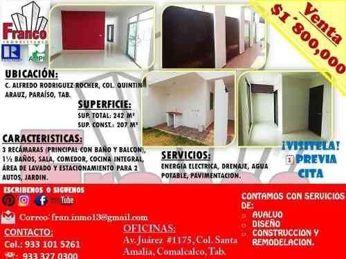 Casa Sola En Venta Quintin Arauz