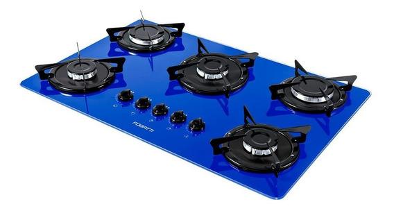 Fogão cooktop a gás Fogatti V500X azul 110V/220V