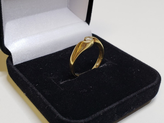 Anel Ouro Solitário Diamante 750 18k Usado Manoel Bernardes