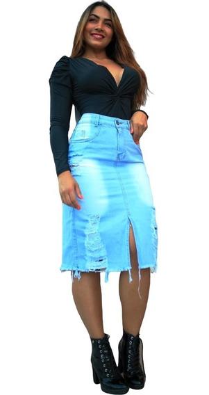 Saia Jeans Destroyed Longa Top Lançamento