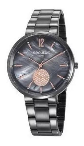 Relógio Pulso Seculus Feminino Cristais 77022lpsvss3 Grafite