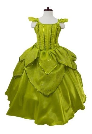 Disfraz Vestido Campanita Verde Guardería Niña 2 Años Zapato