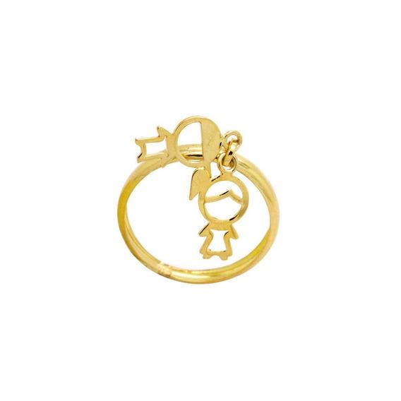 Anel Filhos Em Ouro 18k - Ov/ 9358