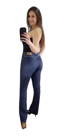 Calça Sawary Jeans Cintura Alta Flare Original Com Elastano