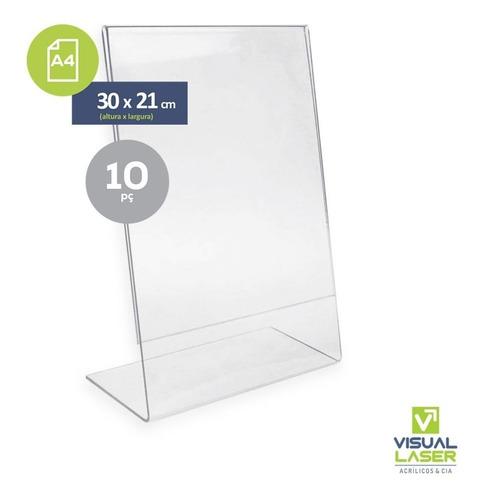 Display Expositor Em L Tamanho A4 Acrílico Ps Cristal 10 Unidades Mesa Balcão