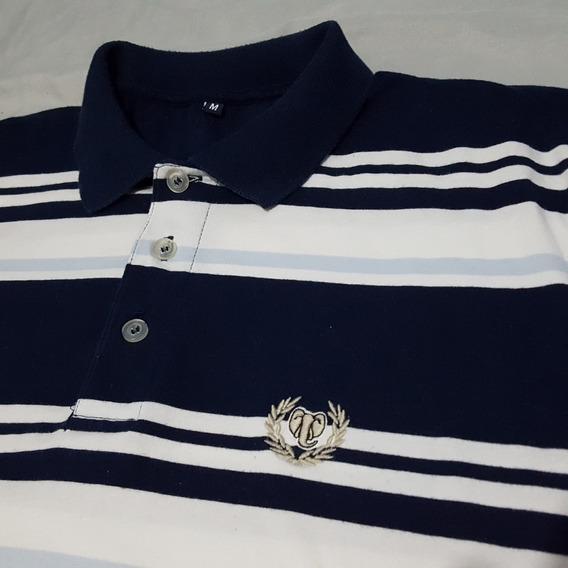 Camiseta Polo Play Size Azul E Branca Listrada M Excelente Estado Custo-benefício Brechó Usada