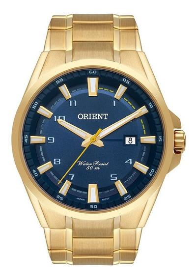 Relógio Pulso Aço Dourado Orient Masculino Azul - Mgss1188
