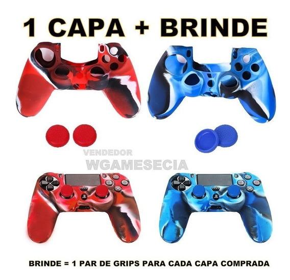1 Capa Case Controle Ps4 + 1 Par De Grips + Frete Grátis