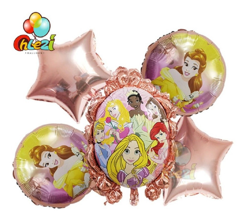 Set Globos Metalizado Princesas X5