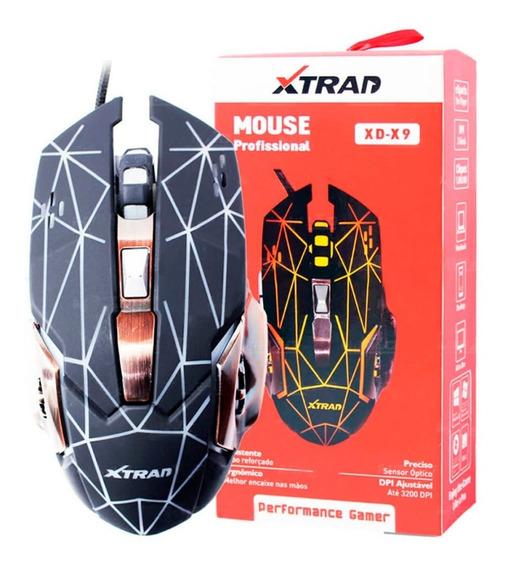 Mouse Gamer Rgb Usb Óptico 3200 Dpi Profissional Base Metal