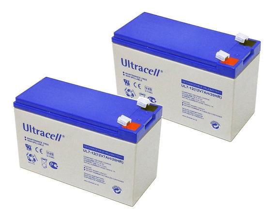 Pack 2 Bateria Ultracell 12v 7ah Gel Electrolito Cctv Ups