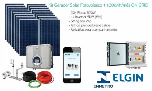 Kit Gerador Solar Fotovoltaico 1100kwh/mês On Grid