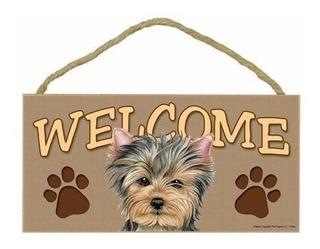 Accesorios Yorkshire Terrier/yorkie Wood Welcome Door Sign 5