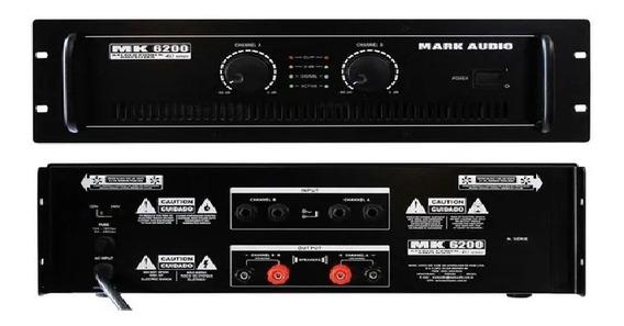 Amplificador Potência Mark Áudio Mk 6200 1200w Rms Estéreo