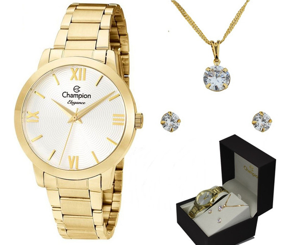 Kit Relógio Champion Elegance Feminino Cn25403w