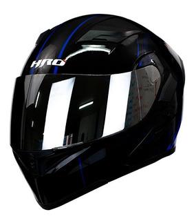 Casco Moto Abatible Hro 3400dv Unit Negro Azul Con Luz Stop