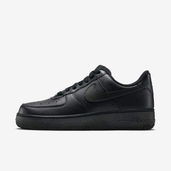 Tênis Nike Air Force 1 07 Couro Preto Original
