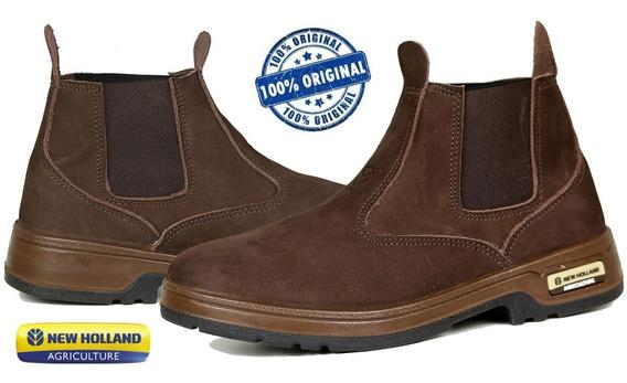 Botina New Holland Em Couro Cor Chocolate Enh2202 - Original