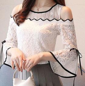 e51799907a Blusa Lese Rendada Branca - Blusas Feminino Manga Longa Branco em ...